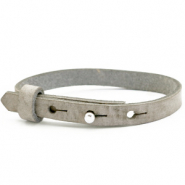 Cuoio armband voor kids 8mm voor 12mm cabochon Neutral grey