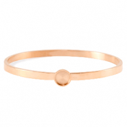 Polaris Steel bangle armband (RVS) met setting voor 7mm cabochon/Swarovski SS34 Rosé goud