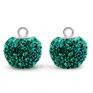 Bedels pompom glitter met oog 12mm Fir green-silver