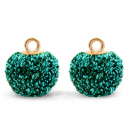 Bedels pompom glitter met oog 12mm Fir green-gold