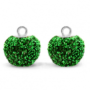 Bedels pompom glitter met oog 12mm Irish green-silver