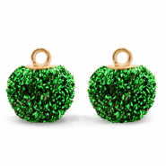 Bedels pompom glitter met oog 12mm Irish green-gold