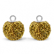 Bedels pompom glitter met oog 12mm Bright gold-silver
