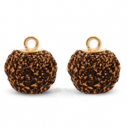 Bedels pompom glitter met oog 12mm Dark brown-gold