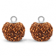 Bedels pompom glitter met oog 12mm Rust brown-silver