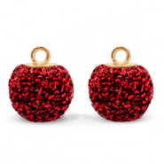 Bedels pompom glitter met oog 12mm Salsa red-gold