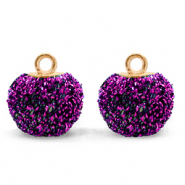 Bedels pompom glitter met oog 12mm Acai purple-gold