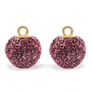 Bedels pompom glitter met oog 12mm Hawthorn rose-gold