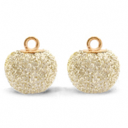 Bedels pompom glitter met oog 12mm Almond white-gold