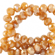 Facet kralen top quality disc 4x3 mm Bleached apricot orange-pearl shine coating