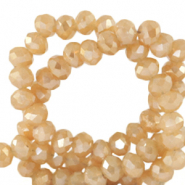 Facet kralen top quality disc 4x3 mm Peachy beige-pearl shine coating