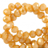 Facet kralen top quality disc 4x3 mm Ceylon yellow-pearl shine coating