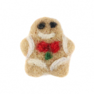 Bedels 1 oog vilt gingerbread man Light brown-white
