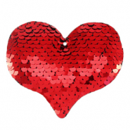 Bedels 1 oog pailletten heart Red