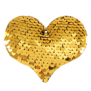 Bedels 1 oog pailletten heart Gold
