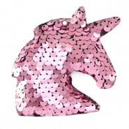 Bedels 1 oog pailletten unicorn Pink