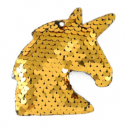 Bedels 1 oog pailletten unicorn Gold
