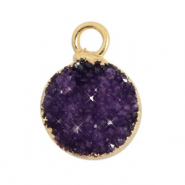 Hangers van natuursteen crystal quartz 10mm Acai purple-gold