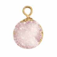 Hangers van natuursteen crystal quartz 10mm Icy pink-gold