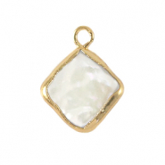 Zoetwater parels bedel rhombus Gold-Natural white
