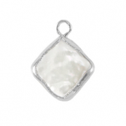 Zoetwater parels bedel rhombus Silver-Natural white