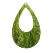 Hangers van resin druppel 57x36mm Guacamole green