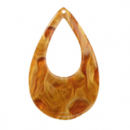 Hangers van resin druppel 57x36mm Golden brown