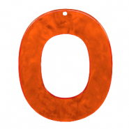 Hangers van resin ovaal 48x40mm Tangerine tango orange