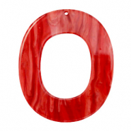 Hangers van resin ovaal 48x40mm Chilli red