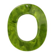 Hangers van resin ovaal 48x40mm Guacamole green