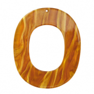 Hangers van resin ovaal 48x40mm Golden brown