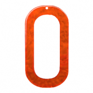 Hangers van resin langwerpig ovaal 56x30mm Tangerine tango orange