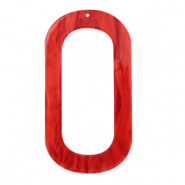Hangers van resin langwerpig ovaal 56x30mm Chilli red