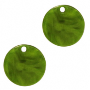 Hangers van resin rond 12mm Guacamole green