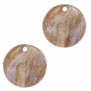 Hangers van resin rond 12mm Suger almond taupe