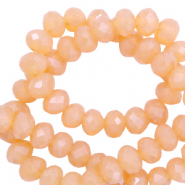 Facet kralen top quality disc 4x3 mm Apricot-pearl shine coating