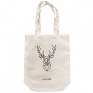 "Trendy tas canvas ""oh deer"" Off white"