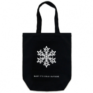 "Trendy tas canvas ""baby it's cold outside"" Black"