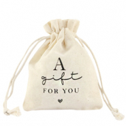"Linnen sieradenzakje ""a gift for you"" Off white"
