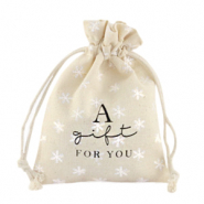 "Linnen sieradenzakje ""a gift for you"" snowflake Off white"