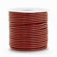 DQ Leer Voordeelrollen rond 1 mm Dark Russet brown metallic
