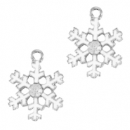Basic quality metaal bedel snowflake Zilver-wit