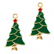 Basic quality metaal bedel christmas tree Goud-groen