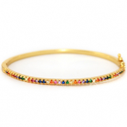 Zirconia bangle armband rainbow Gold
