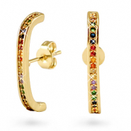 Zirconia ear cuff rainbow Gold