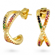 Zirconia creolen rainbow cross Gold