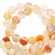 Halfedelsteen kraal rond 4mm agate White-Orange flame opal
