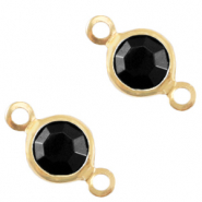 Metaal bedels DQ tussenstuk crystal glas rond 6mm Gold-Jet black opaque