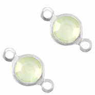 Metaal bedels DQ tussenstuk crystal glas rond 6mm Silver-Meadow green opal