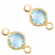 Metaal bedels DQ tussenstuk crystal glas rond 6mm Gold-Ether aqua blue crystal